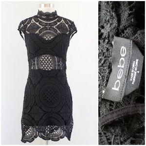 Bebe Medallion Lace Cutout Dress
